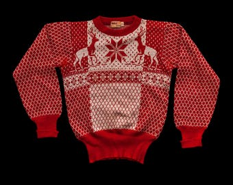 1940s Red Reindeer Catalina Sweater S/M