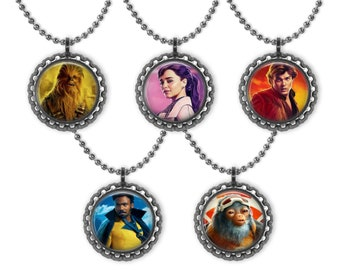 New! Disney 5 STAR WARS SOLO 3D Bottle Cap Necklace Birthday Party Favors | Star Wars Party | Lucas Films