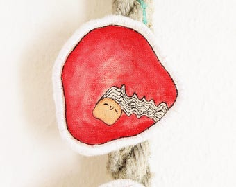 Hand painted brooch pin illustrated fabric brooch Gift for geek Whimsical textile jewelry for girls Cute fabric brooch jewelry Red girl  #3