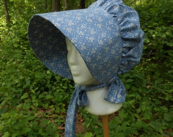 B026     Frontier Trail Trek  Early American  Americana  Ladies Pretty Frontier Prairie Bonnet Made to Order