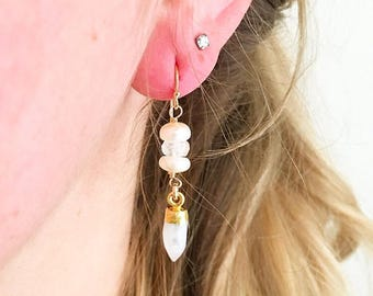 Beaded Pearl & Moonstone Earrings // Gold Earrings // Moonstone Earrings // Gemstone Earrings // Bridal Earrings // Spike Earrings