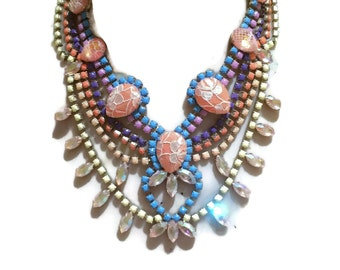 SOUTH PACIFIC sunset ombre pastel painted rhinestone statement bib necklace