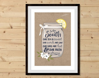 Kraft Mason Jar In The South - Printable Art - INSTANT DOWNLOAD