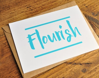 Flourish Blue Typography Postcard Print - Inspirational Print A6 A5 A4 - Typography Greetings Card - Blue Typography Wall Print - Home Decor