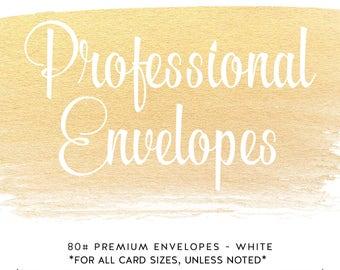 Professional Envelopes - Custom Invitation and Announcements - Premium Paper 80# White - ChiccDesigns