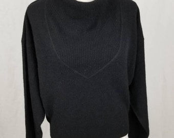 Vintage Made in Italy Angora Lambswool Black Sweater Retro Pinup Sweater - Size Large