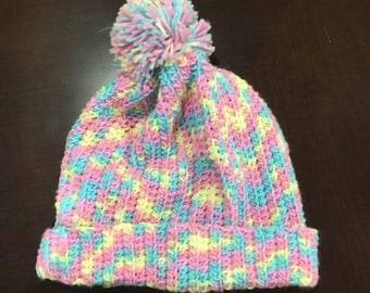 Pastel Pompom Hat