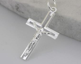 Silver Cross Necklace,Mens Cross Necklace, Crucifix Cross Pendant, Modern Silver Cross Necklace, Silver Crucifix Necklace, Light Cross
