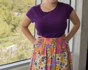 Vintage Flower Fabrics Recycled into High Waist Skirt