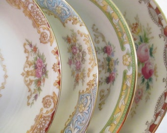 Vintage Mismatched China Dessert / Fruit Bowls for Tea Party,Bridal Luncheons,Showers,Hostess Gift,Bridesmaid Gift-Set of 4