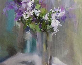 Gift for Her Floral Oil Painting, Flowers in Vase, Lilacs Still Life Artwork, Original Art Floral Canvas Art
