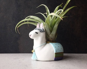 Mini Llama, Air Plant Holder, Whimsical Llama Art, Animal Totem, Home Office, Cubicle Decor, Cute Desk Accessories, Birthday Gifts for Women