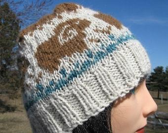 Hand Knit Alpaca Wool Hat Men or Women, Fair Isle Cap, Sheep Beanie