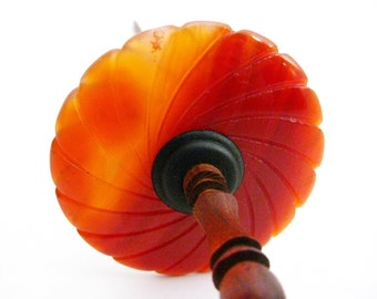 Storewide Sale CARNELIAN Flower Top Whorl Drop Spindle with Rosewood Shaft