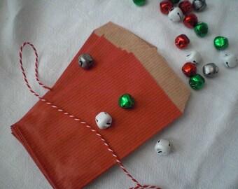 12 mini red kraft paper bags
