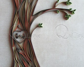 Paper Quilled Tree with Carved Initials / Couple's Gift/ Wedding Gift/ Paper Anniversary/ 1st Anniversary/ Graphic quilling-LOVERS TREE ART