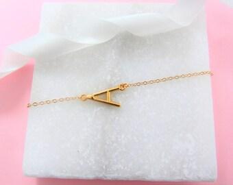 Delicate Letter Bracelet -  Bridesmaid Gift - Initial Bracelet - Gold Bracelet - Personalised Bracelet Gift - Gold Charm -Gift for Her