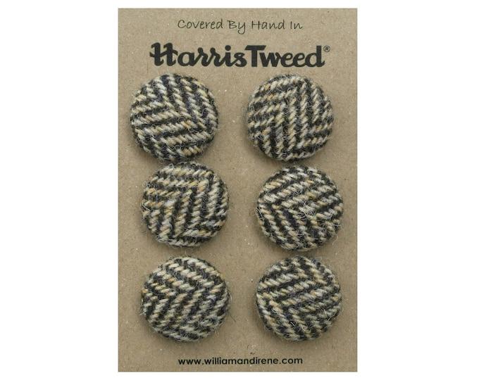 Harris Tweed Pure Wool Brown & Golden Beige Herringbone Handmade Covered Set of 6 Buttons 24mm Diameter