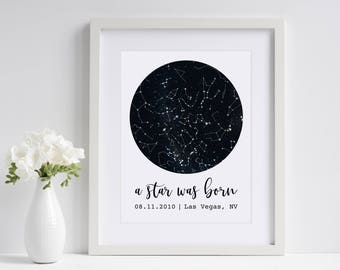 A Star Was Born | Personalized Sky Map | Constellation Star Map | Custom Star Print | Newborn New Baby Gift | Paper Anniversary Gift