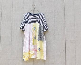 Spring Tunic, Tshirt Dress, Floral Dress, Navy and White, Stripe, Upcycled Clothing, Summer, Upcycled Dress, Romantic, Boho, CreoleSha