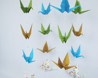 READY TO SHIP - Origami Crane Hanging Mobile - Nature Colors with Ducks - Home Decor - Kids Room Decor