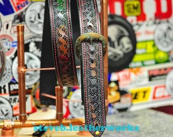 """Belt 6- the FooShnicks - a 1.75""""wide custom leather belt - Unisex, Mens or Ladies Custom Handmade Leather Belt"""
