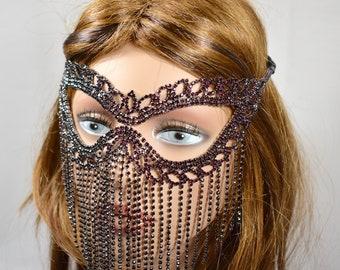 Purple/Wine/Burgundy Rhinestone Metal Masquerade Mask, Mardi Gras Mask, Masquerade Mask, Jeweled Bridal Mask, Queen Mask,new year party mask