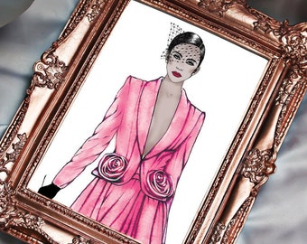 Pink Couture, Ralph & Russo Fashion Illustration, Couture illustration, Runway Art, Vogue Illustration, Bedroom Home Décor