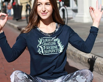 Lokah Samastah Sukhino Bhavantu Cozy Yoga Wide Neck Sweater | Yoga Sweatshirt | May all Beings be Happy and Free | Yoga Top | Mantra Clothes