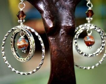 Double Hoop Earrings in Cream and Brown