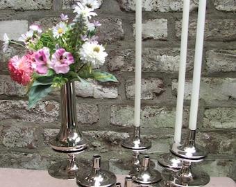 Mid Century 60s 70s vintage ensemble of original  7 candlesticks candle holders S88 + vase S880 Nagel Quist era