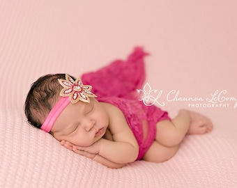 Stretch Lace Wrap Fuschia Hot Pink Newborn Photography Prop Baby Swaddle