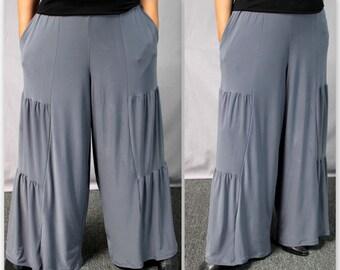 New Artistic Plus Size Pnats, LagenLook Pants Tiered Pants, Wide Legged Pants. Fun,Comfort, Travel.