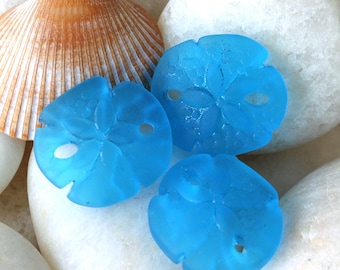 Seaglass Beads - Cultured Seaglass Sand Dollar Beads - Jewelry Making Supplies - Frosted Glass Beads - 21x19mm (4 pieces) Dk. Aqua