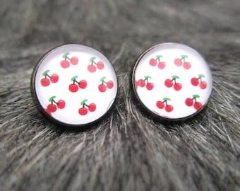 Miss Shabby-earrings rockabilly red cherry