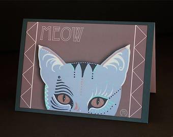 "Meow Cat 4.25"" x 6"" Blank Greeting Card"