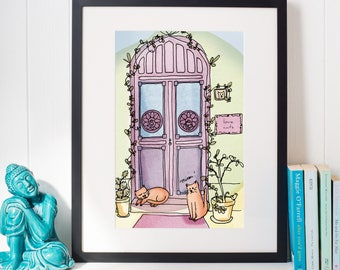A4 print - Cats at the door