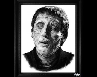 The Creature - Original Drawing - The Curse of Frankenstein Christopher Lee Peter Cushing Dark Art Horror Pop Art Lowbrow Sci Fi Monster