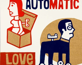 automatic love  / hand printed woodcut and collage / limited edition
