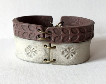 Chocolate, Cream, Textured Bracelet, This is not Leather, Autum Fashion, Fall 2016, 2017 trends, Artisan Jewelry, 30, 40, 50, 60 years old