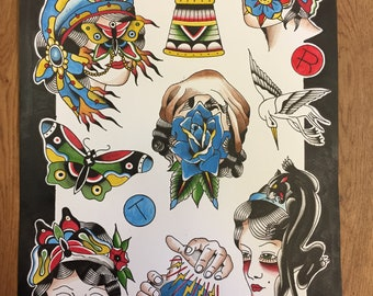A3 traditional tattoo flash print