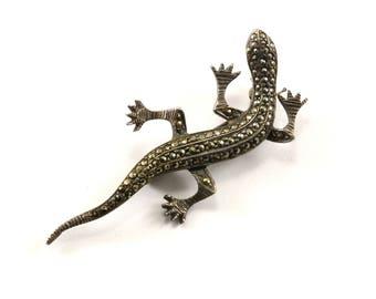 Vintage Lizard Marcasite Design Pin/Brooch 925 Sterling BB 1265