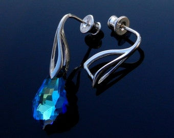 Sterling Silver Ear Posts with Pinch Bail for Swarovski Crystal or other beads with Ear nuts earrings