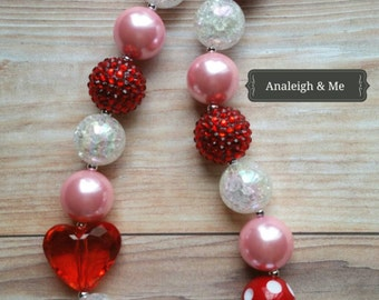 Toddler Valentine's Chunky Necklace, Pink and Red Necklace, Valentine's Necklace, Valentine's Baby, Baby Necklace,  Toddler Necklace