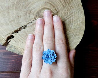Blue Succulent ring, Succulent Jewelry, Succulent ring, Eco friendly jewelry, Rustic jewelry, Planter ring, Botanical ring