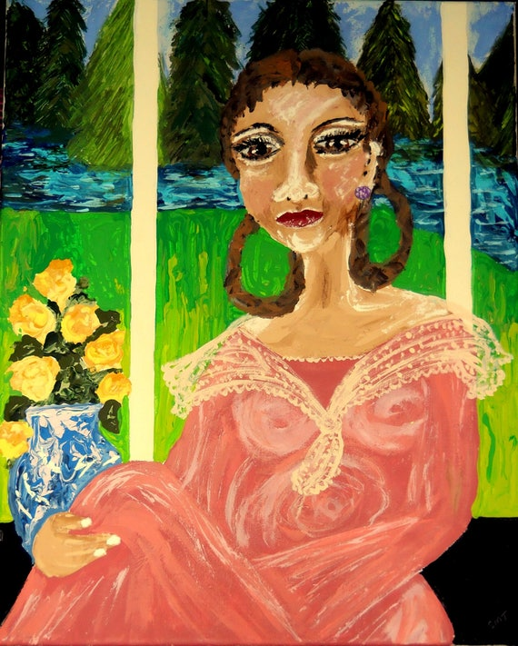 "Acrylic Painting 20 x 16"", Sally Hemings of Monticello, Ethnic Folk Art, portrait of black woman by African American Artist Stacey Torres"