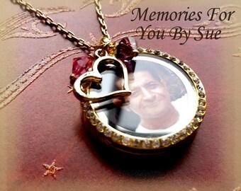 Custom Gold Round Floating Locket Necklace-Personalized Locket-Double Sided Gold Glass Locket -Custom Memory Necklace-Gold Charm Necklace