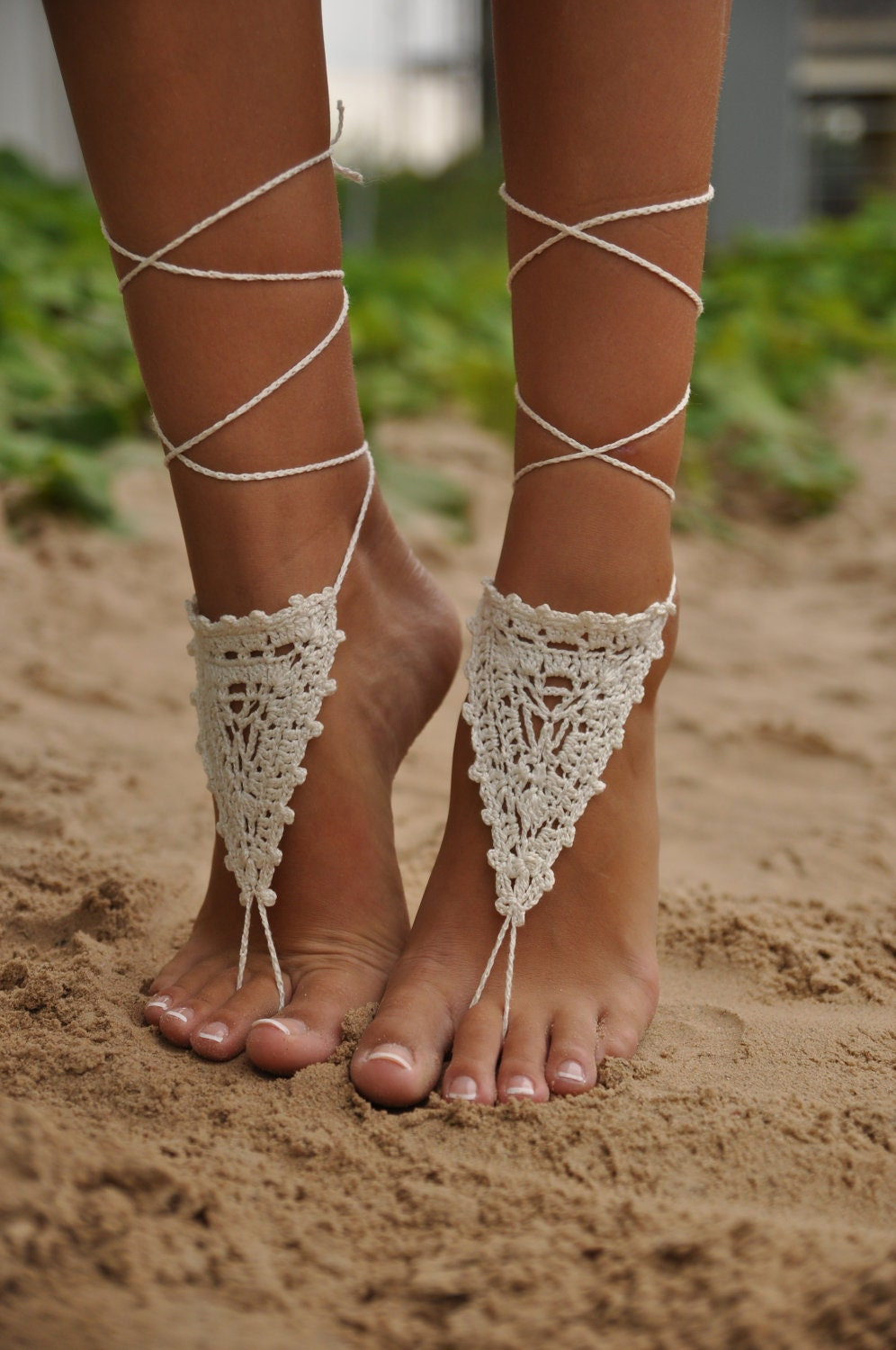 Crochet Ivory Barefoot Sandals, Beach Wedding shoes, Bride Foot jewelry, Brides sandals, Boho lace sandals, Sandals women, Soleless sandals