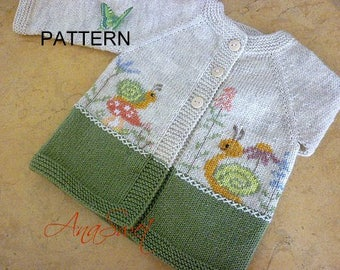 Knitting pattern Cardigan with snails and flowers. PC015 NEW