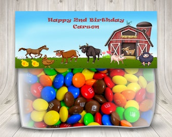 Farm Treat Bag Toppers, Farm Birthday Party, Barnyard Birthday Party, Farm Theme Party, Personalized, Bags Included